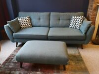 DFS FCUK French Connection 4 seater 'Zinc' sofa & footstool; excellent condition