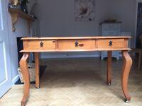 Varnished pine hall table