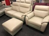 NEW - EX DISPLAY SOFOLOGY MOWSON LEATHER 3 + 1 SEATER SOFAS + FOOTSTOOL / SOFA , 70% Off RRP