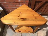 Table Ducal Victoria Pine 2 Tier Corner Table good - very good used condition. See photos for size.