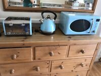 Blue kettle, microwave and 4 slice toaster