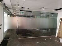 5.14 METRE WIDE GLASS OFFICE PARTITION SYSTEM WITH 1 GLASS DOOR & FRAME FOR £495