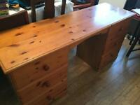 Solid Pine Desk With 6 Drawers