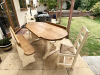 Dining Table Set Handmade Vintage Bespoke Distressed Rustic