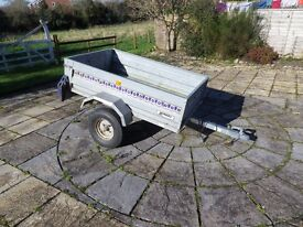 """Noval"" Portaflot tipping road trailer. 1m x 1.56m Box space. 1.4m x 2.2m overall sixes."
