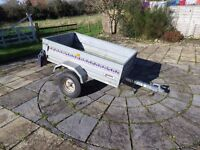 """Noval"" Portaflot tipping road trailer. 1m x 1.56m Box space. 1.4m x 2.2m overall sizes."