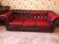 Ox blood red Chesterfield 3 seats sofa, arm chair, foot stall and single chair