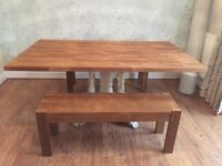 10 seater Large chunky solid wood dining table and wood benches