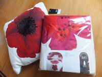 Brand New NEXT Red Poppy Bedset with matching cushion
