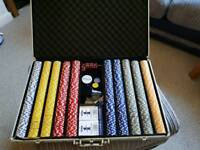poker chips set and metal case