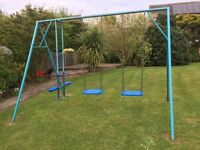 Swings/seesaw frame.