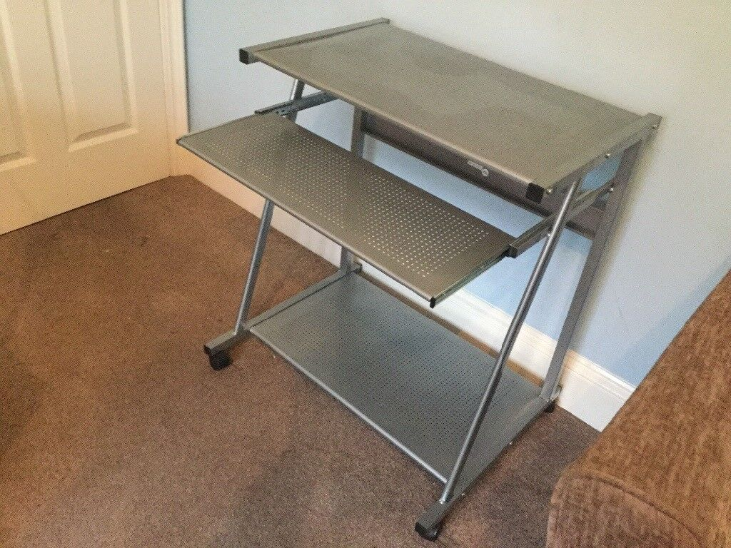 Metal Grey Computer Desk With Sliding Keyboard Shelf H30in 78cmw22in 56cml28in 71cm