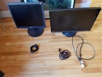 "Two computer monitors - 19"" & 24"""