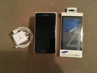 Black Samsung Galaxy Note 4 32gb (EE) smart mobile phone with original box and official S View case