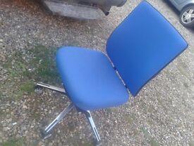 CHROME AND BLUE OFFICE STUDY SALON SHOP CHAIR HEAVY STURDY FULLY ADJUSTABLE SWIVEL SEAT STOOL DESK.