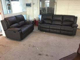 BROWN TOP QUALITY BONDED LEATHER RECLINER 3 AND 2 SEATER SOFA SET THREE PLUS TWO