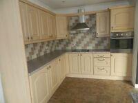 Secondhand Kitchen - wood effect kitchen, laminate worktop and appliances