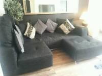 Black corner sofa and extras