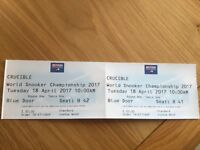 2 x Snooker tickets for 1st round at the crucible on Tuesday 18th April 10am