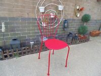 SINGLE RED METAL CHAIR IN EXCELLENT CONDITION £10