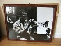 FRAMED BIG POSTER OF MILES DAVIS KIND OF BLUE POSTER IN A NICE WOOD FRAME GOOD CONDITION ONLY £10