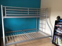 Silver Steel Bed Frame for sale, Double Bed Base with a Single Bed Base as a Bunk on top.