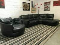 Black leather corner sofa with cuddle chair