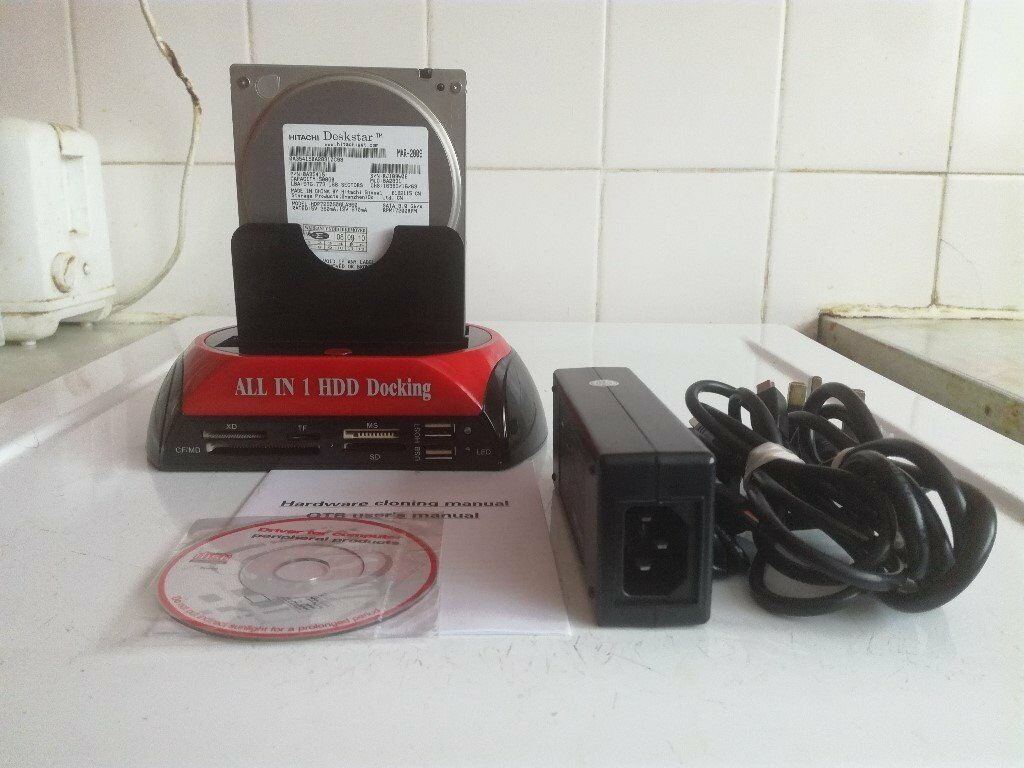 HDD Docking Station IDE SATA 2.5 & 3.5 Inches Dual Hard Drive Disk USB 2.0 Dock Hub & 500 GB 3.5 HDD