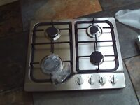 Cooker hob - new in box - stainless steel with black cast iron - model GH60SS