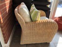 John Lewis Real Rattan Conservatory furniture set - Couch and two arm chairs