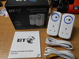 BT Broadband Extender Flex 1000 Kit Gigabit Powerline homeplug Network Adapters - Twin pack boxed