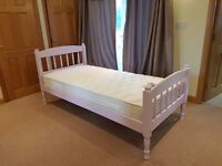 Single bed with Premier memory foam mattress & hand painted frame.