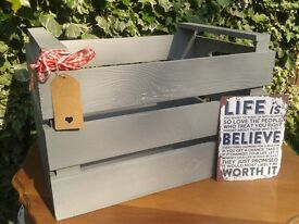 Large Grey Shabby Chic Wooden Crate Apple Box