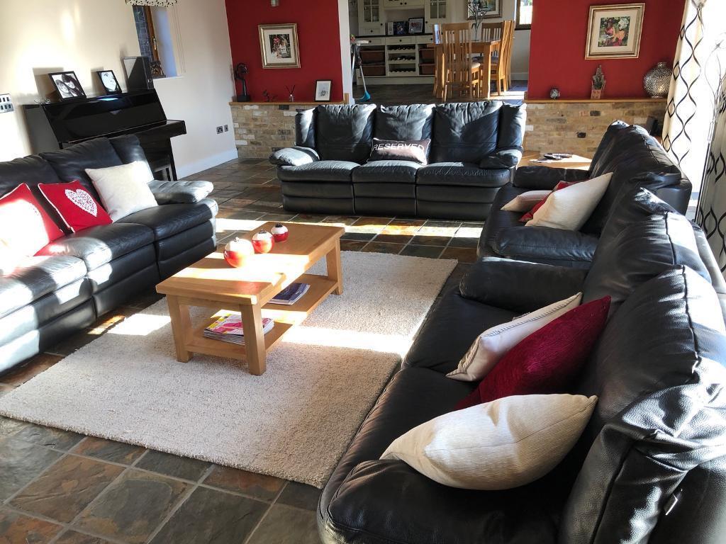 Incanto Divani Black Leather Sofa In Wantage