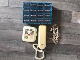 Telephone, smoke alarm, storage box