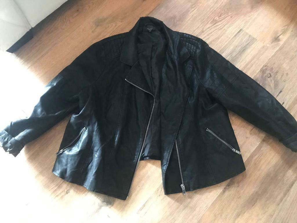 4b7fe8914 Size 24 black leather look biker jacket new look | in Portsmouth, Hampshire  | Gumtree