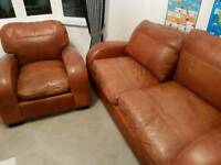 Brown leather 2 seater and chair