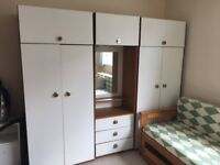 White 3 Piece Wardrobe Unit - 2 Wardrobes, 3 Drawer Dresser all with Top Cabinets
