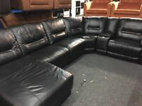 NEW/EX DISPLAY LazyBoy HEDGDMOOR LEATHER ELECTRIC RECLINER CORNER SOFA + CHAISE + MEDIA TRAY
