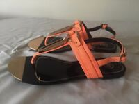 River Island sandals, Size 4, Neon salmon colour, Golden buckle