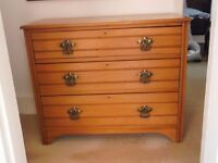 Edwardian pretty chest drawers brass handles. would enhance any room of the house