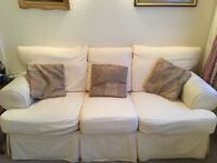Harvey's Cream Three Seater Sofa with Chair and Footstool