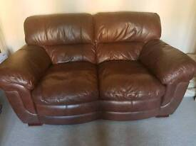 Dark brown leather sofas great condition