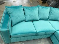 BUTTON TUFTED MAYA PLUSH VLEVET CORNER SOFAS WITH MATCHING FOOTSTOOLS
