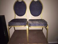 Set of 2 Office Chair Seats Blue Fleece Padded Furniture Work Home Need Refurb on Padding