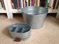 Galvanized iced drinks bucket and utensil holder