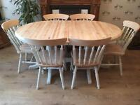 Solid Wood Extending Dining Table With Six Chairs