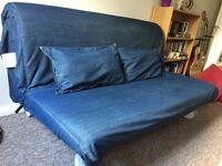 IKEA Sofa bed in blue denim