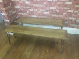 2 x Solid Beech Wood - Hairpin Legs - Benches - Very Heavy - Excellent quality