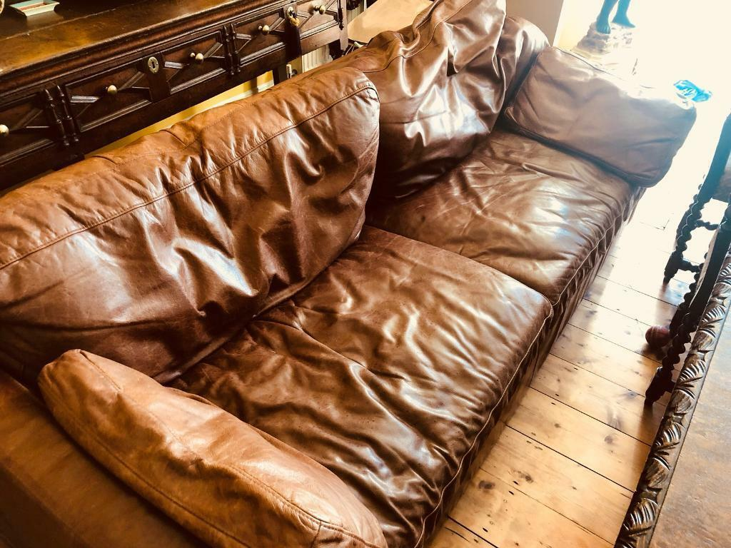 Large Three Seater Shabby Chic Brown Tan Leather Sofa